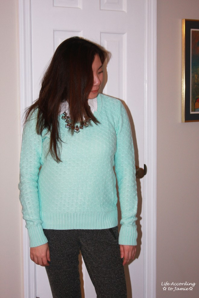 Mint Sweater + Statement Necklace 7