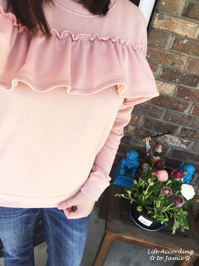 Pink Front Ruffle Sweat Top 4'