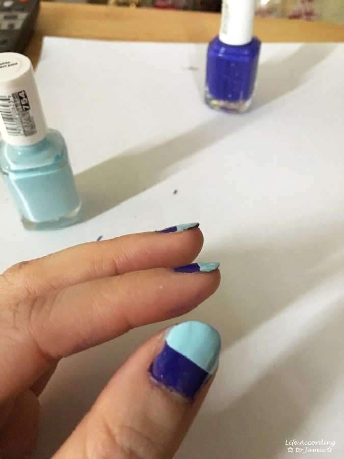 Purple & Mint Two Toned Nails