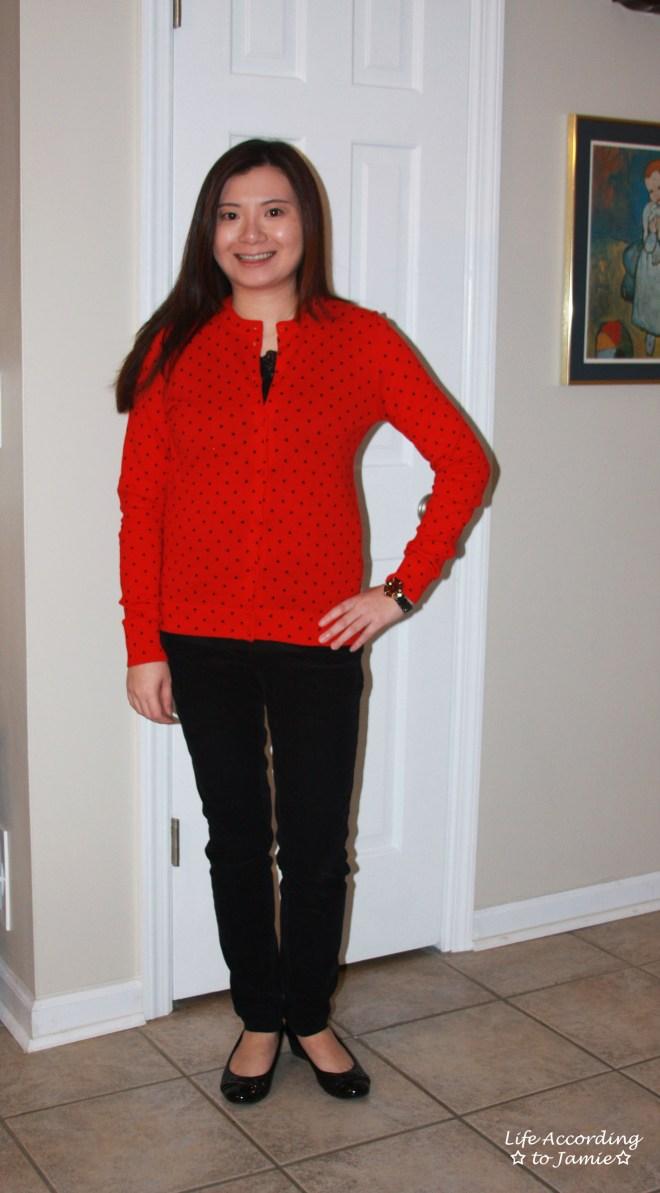 Red & Black Polka Dot Cardigan