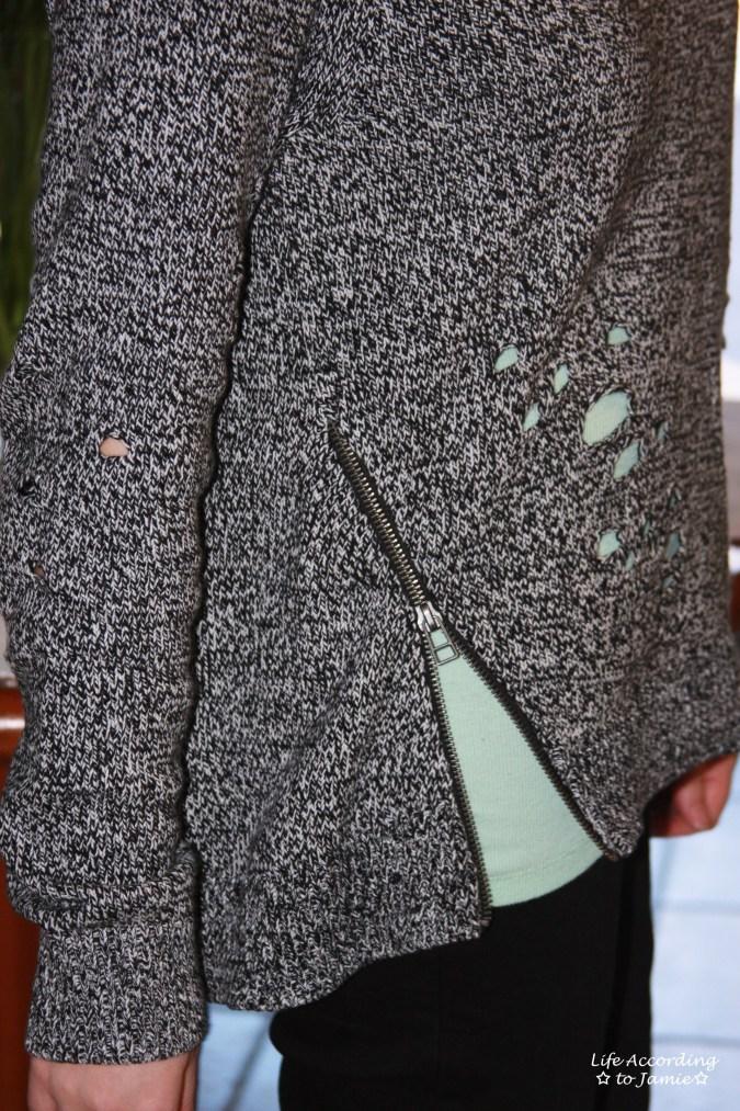 Marled Distressed Side Zip 3