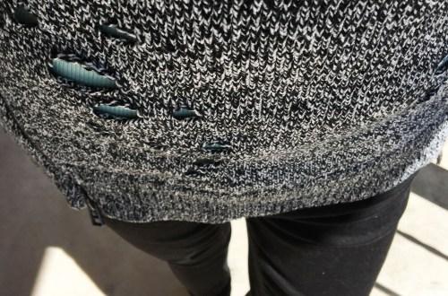 Marled Distressed Side Zip