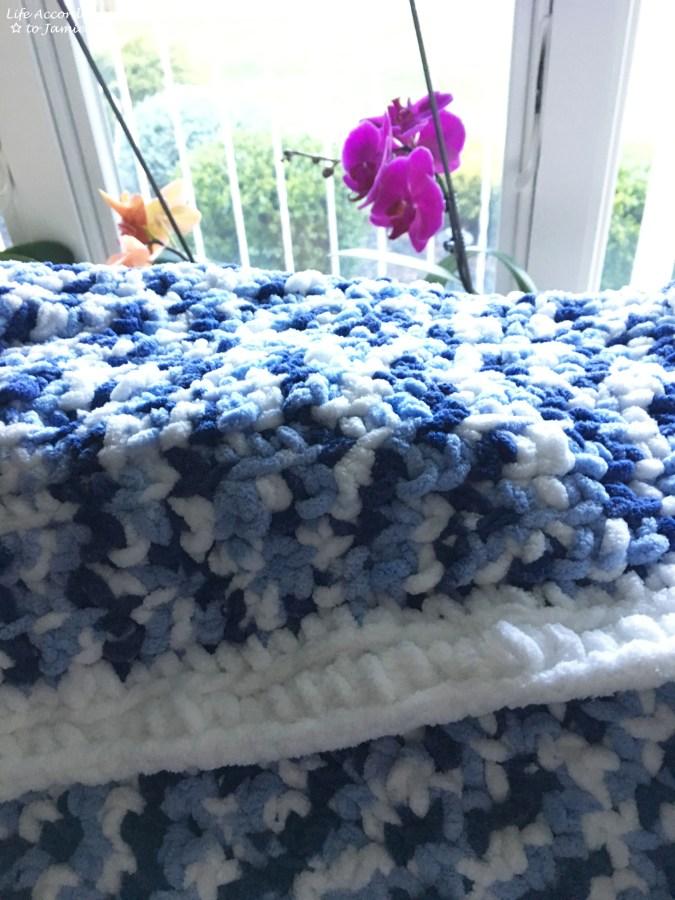 Blue & White Crochet Baby Blanket