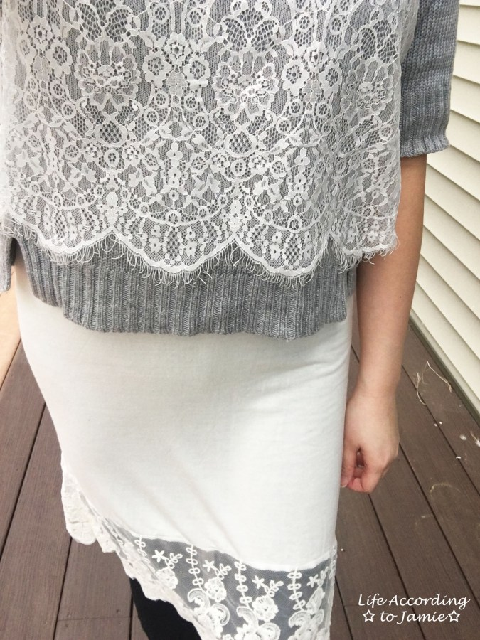 Cropped Lace Sweater + Lace Dress Extender 6