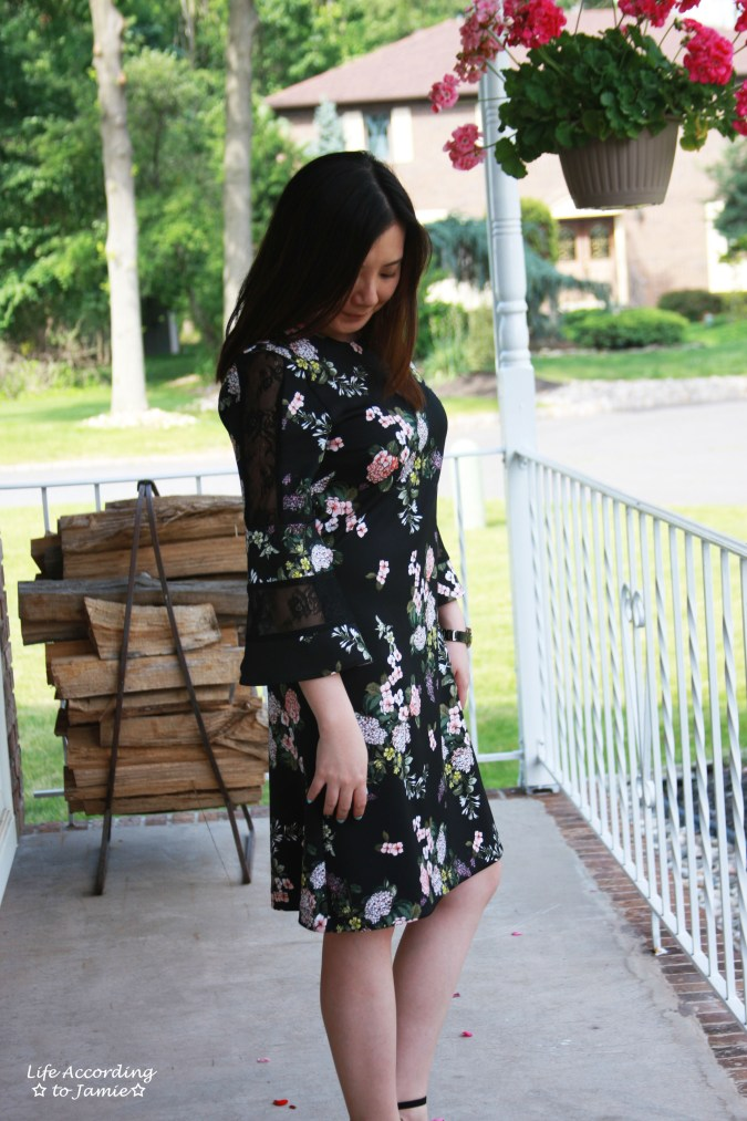 Dark Floral + Lace Dress 6
