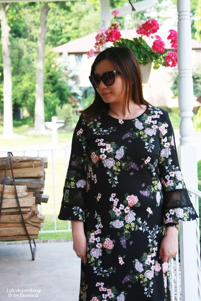 Dark Floral + Lace Dress 9