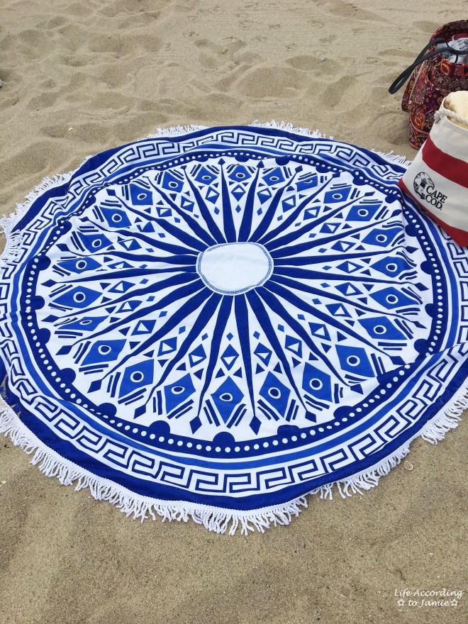 Blue + White Circle Beach Blanket 1