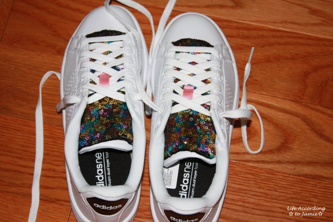 White Adidas + Sequin Shoe Tongue 1