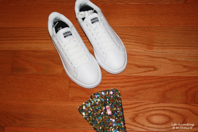 White Adidas + Sequin Shoe Tongue