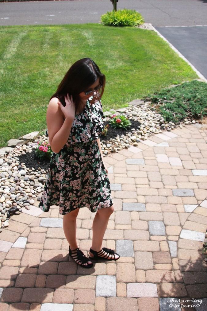 1-Shoulder Ruffled Floral Dress 1