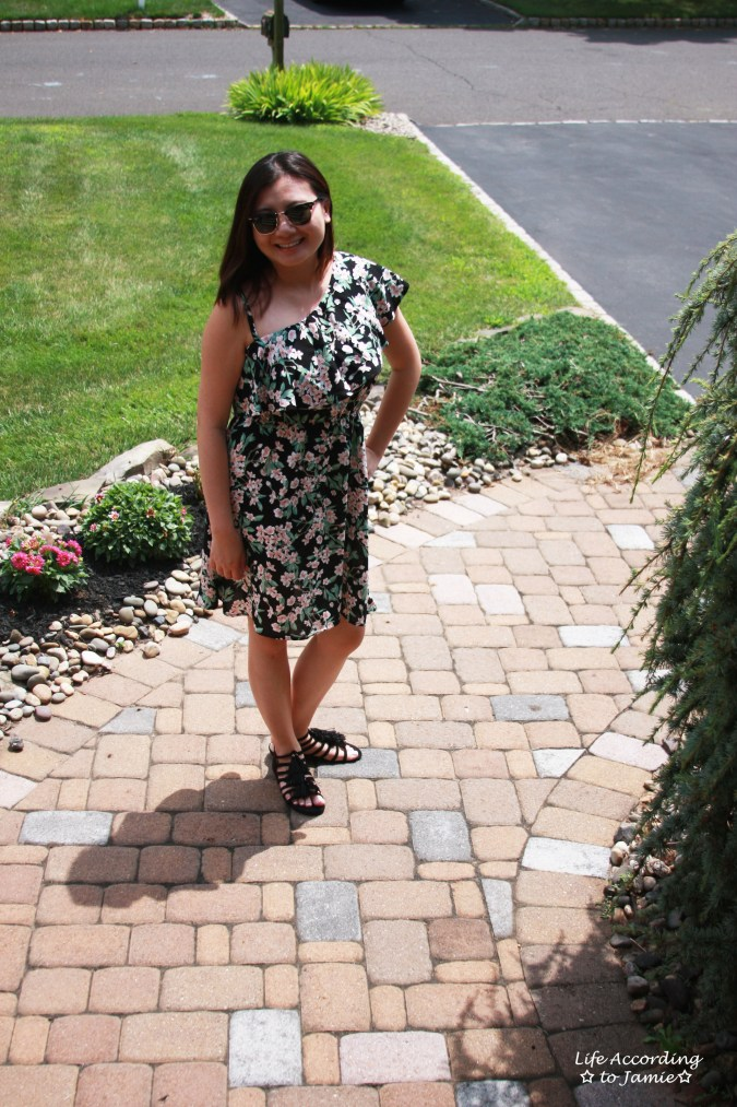 1-Shoulder Ruffled Floral Dress 3