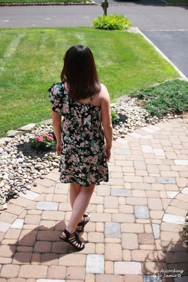 1-Shoulder Ruffled Floral Dress 4
