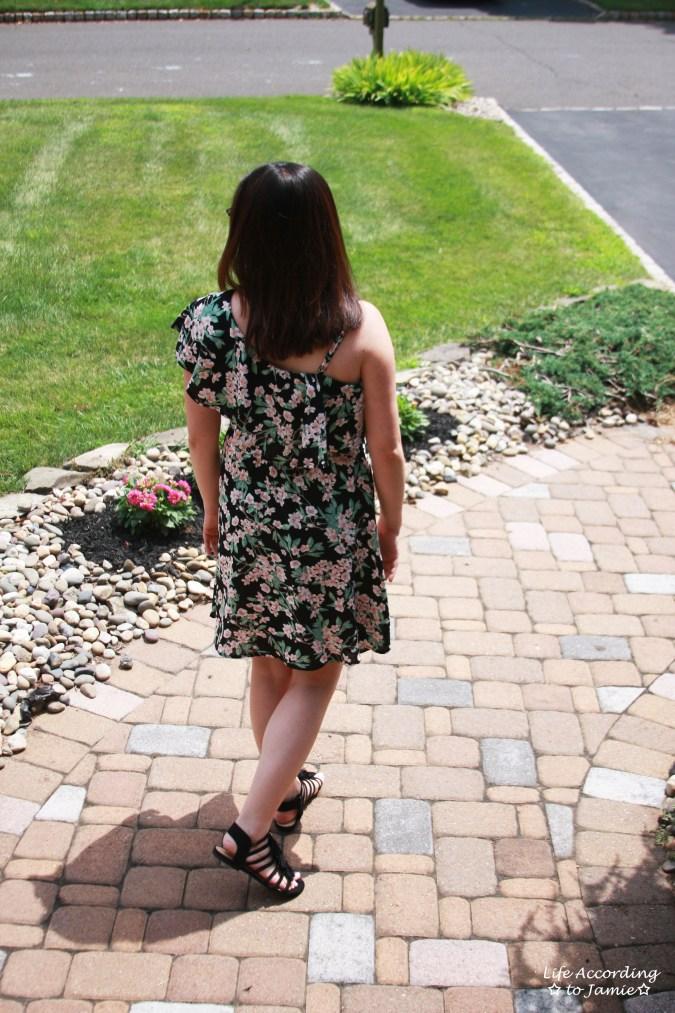 1-Shoulder Ruffled Floral Dress 4