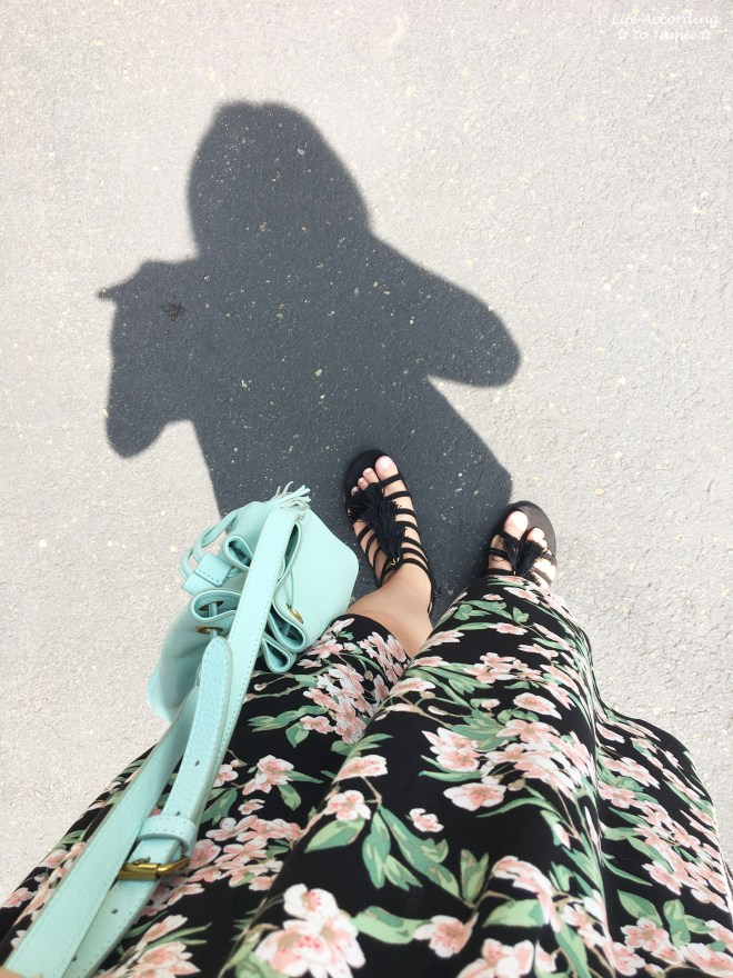 1-Shoulder Ruffled Floral Dress + Mint Bucket Bag 2