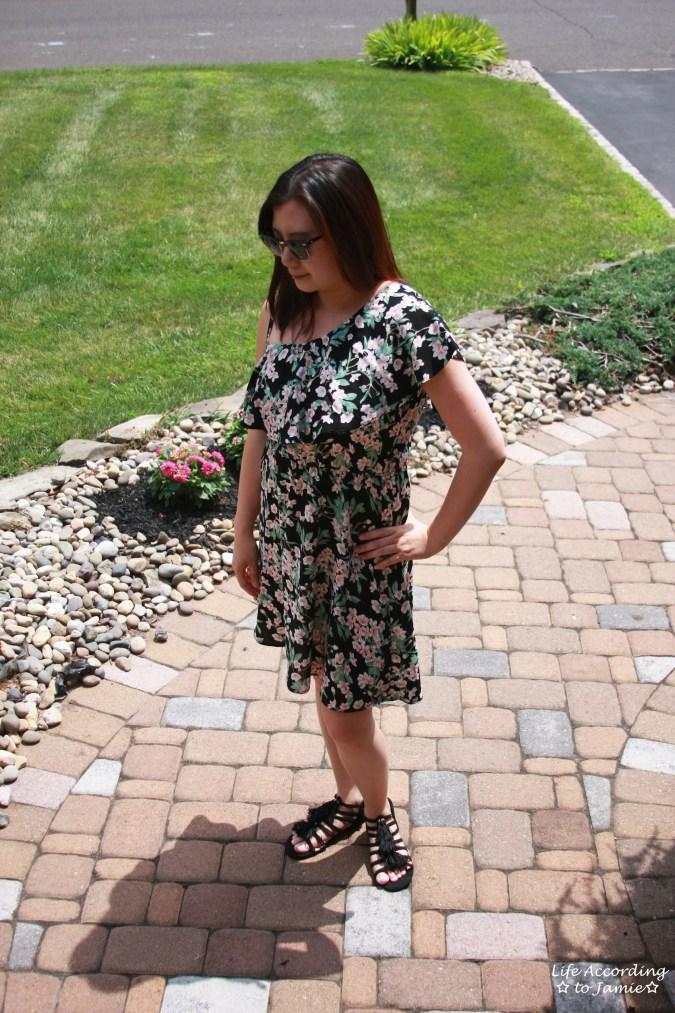 1-Shoulder Ruffled Floral Dress