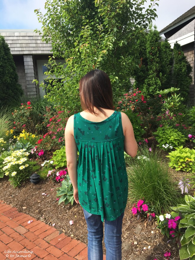 Green Floral Pleated Top 1