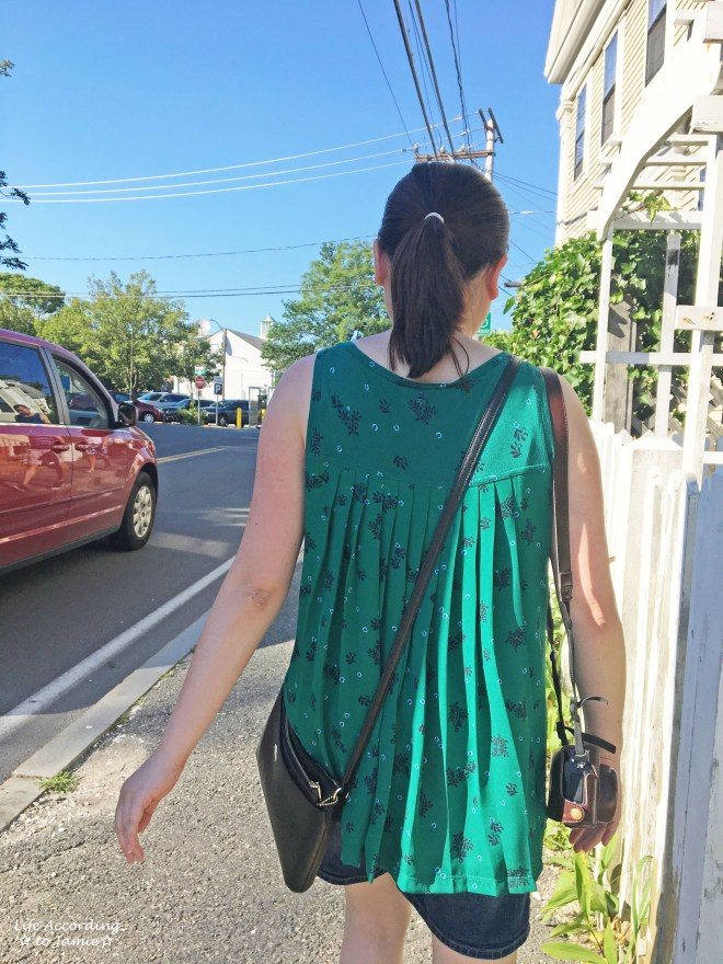 Green Floral Pleated Top 3