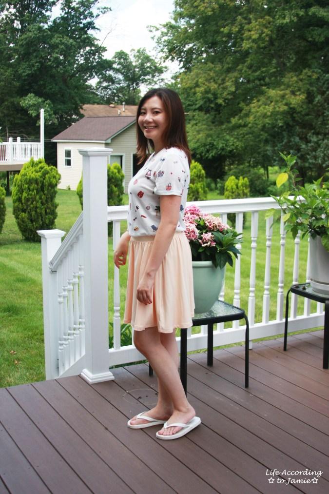 Summer Graphic Tee + Peach Skater Skirt 2