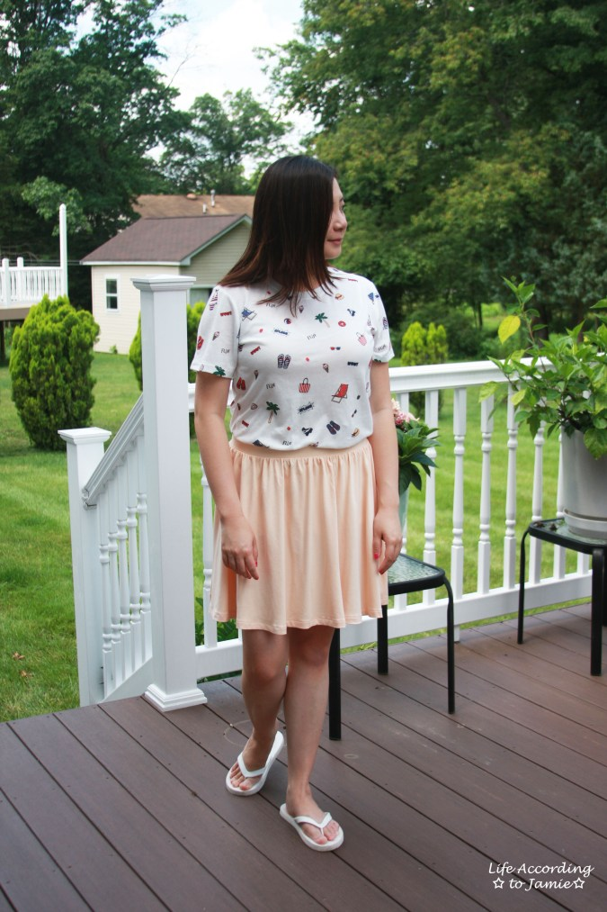 Summer Graphic Tee + Peach Skater Skirt 3