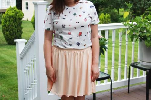 Summer Graphic Tee + Peach Skater Skirt