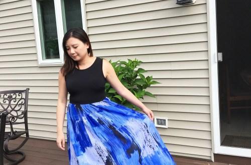 Abstract Blue Maxi Dress