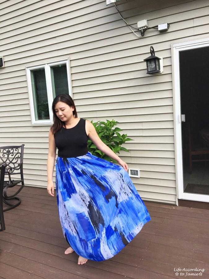 Abstract Blue Maxi Dress 12