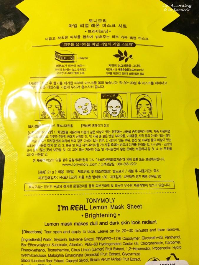 TonyMoly Sheet Mask - Lemon 1