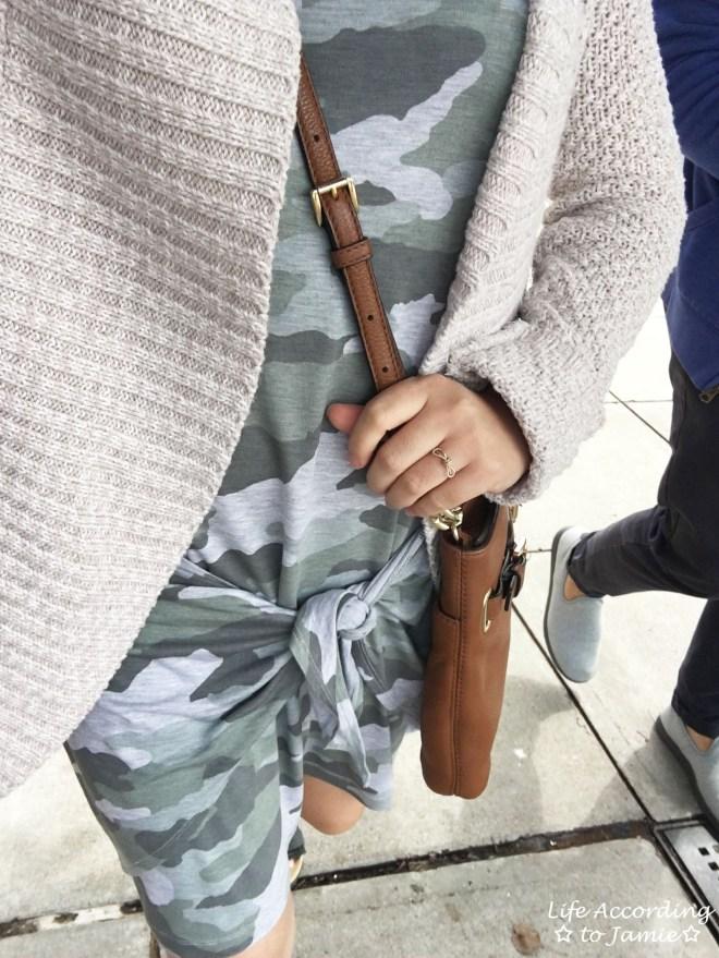 Camo Twist Dress + Chunky Cardigan 4