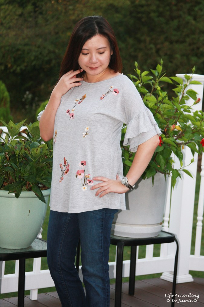 Floral Embroidered Ruffle Sleeve Top 4