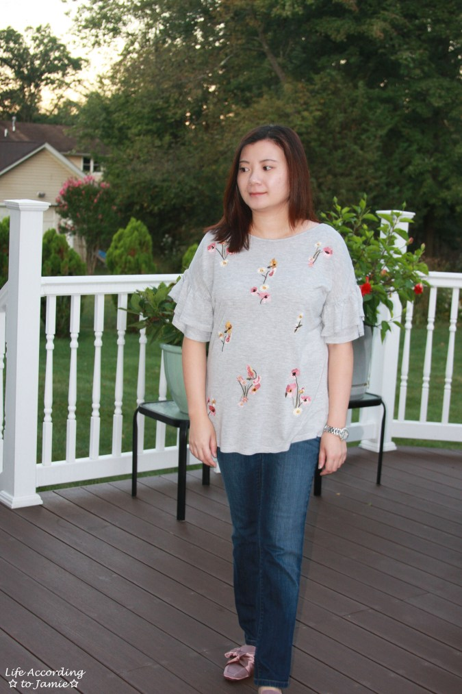 Floral Embroidered Ruffle Sleeve Top 9