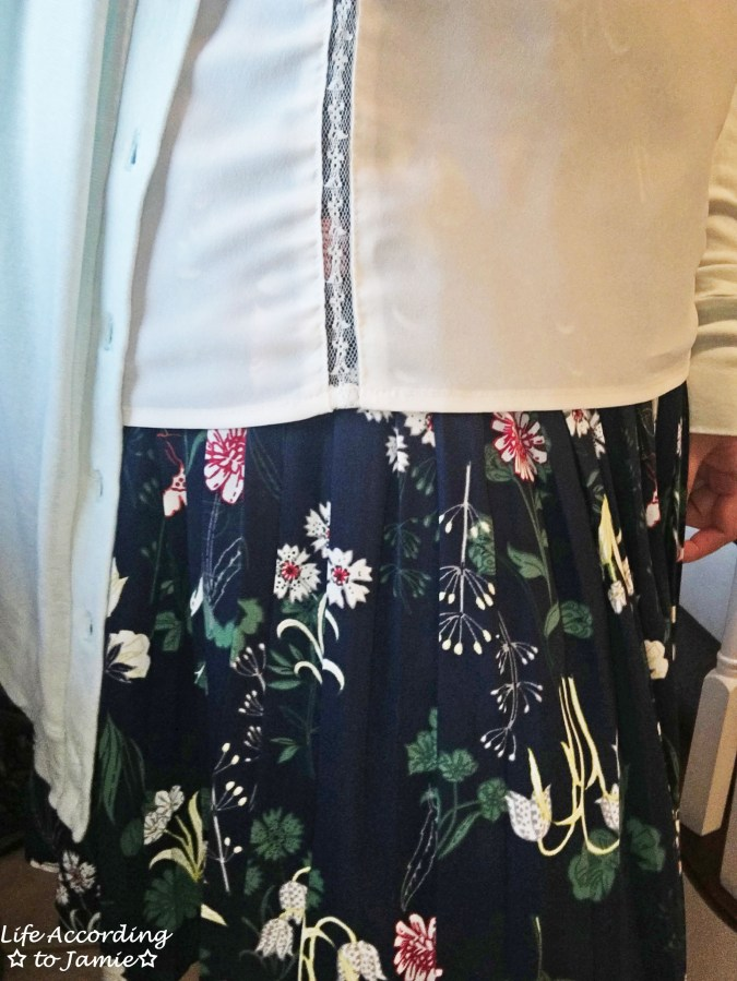 Lace Trim Top + Floral Pleated Skirt