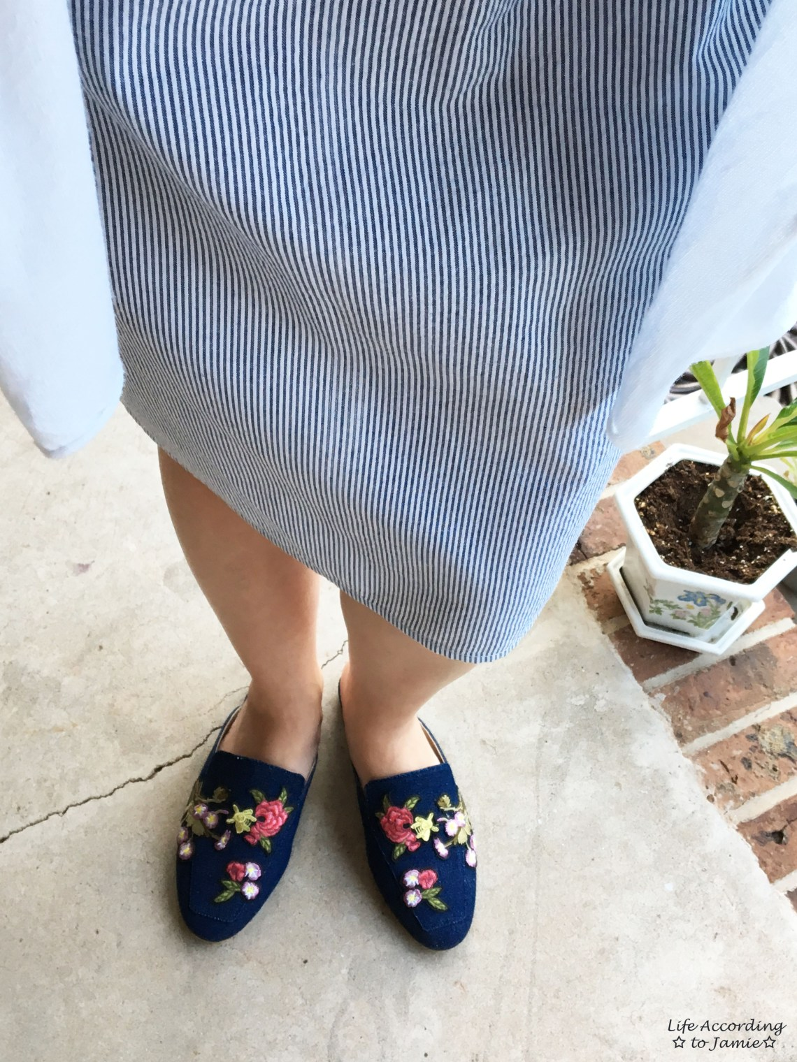Seersucker Dress + Embroidered Mules