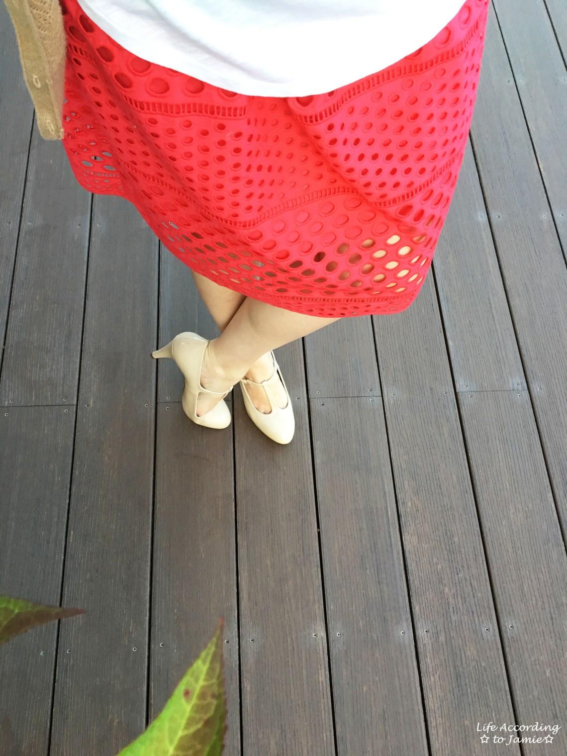Watermelon Pop Eyelet Skirt