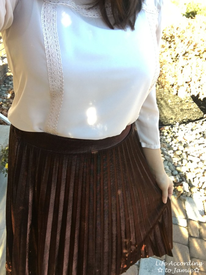 Copper Metallic Pleated Midi Skirt 1