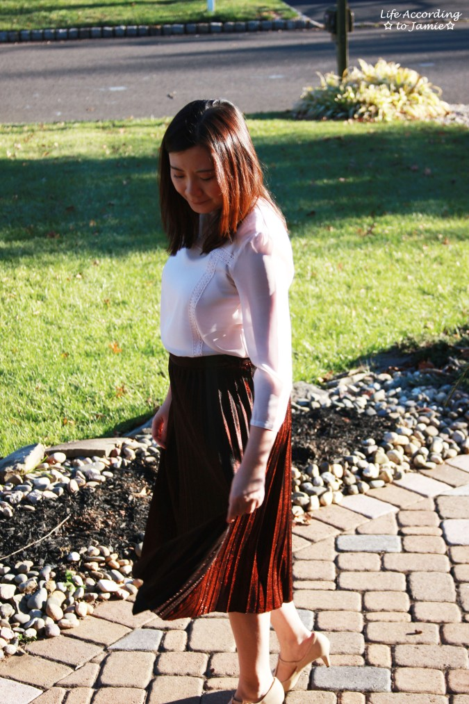 Copper Metallic Pleated Midi Skirt 13