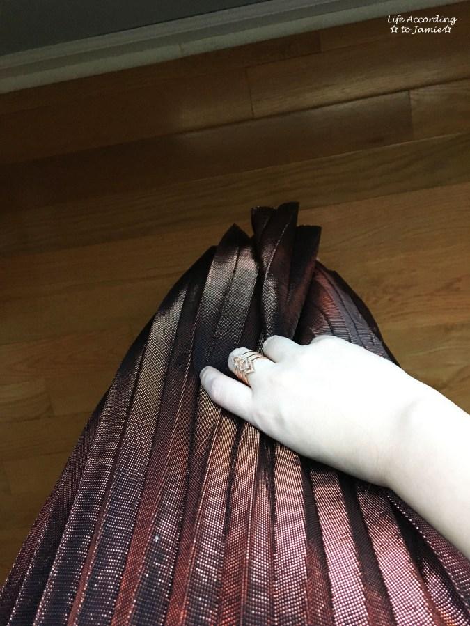 Copper Metallic Pleated Midi Skirt 3