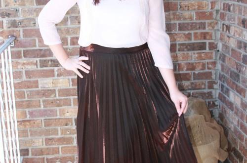 Copper Metallic Pleated Midi Skirt