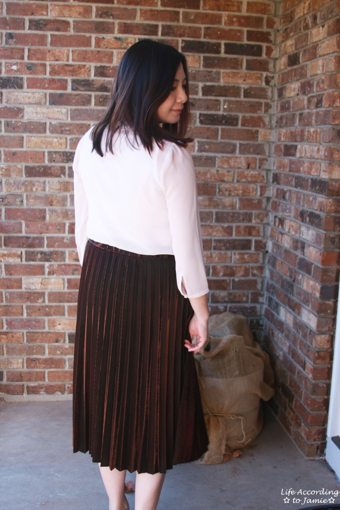 Copper Metallic Pleated Midi Skirt 8