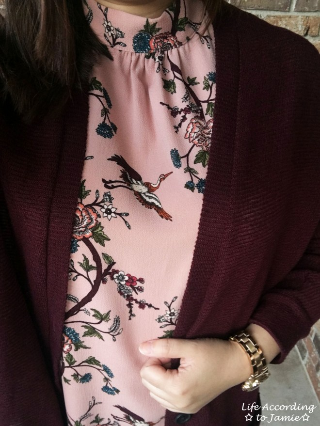 High-Neck Pink Floral Dress 1