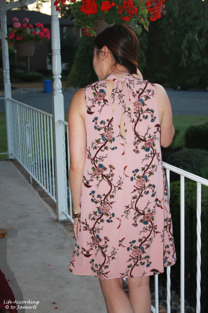 High-Neck Pink Floral Dress 10