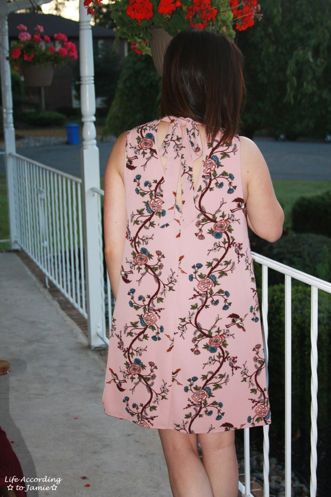 High-Neck Pink Floral Dress 11