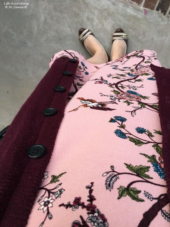 High-Neck Pink Floral Dress 2