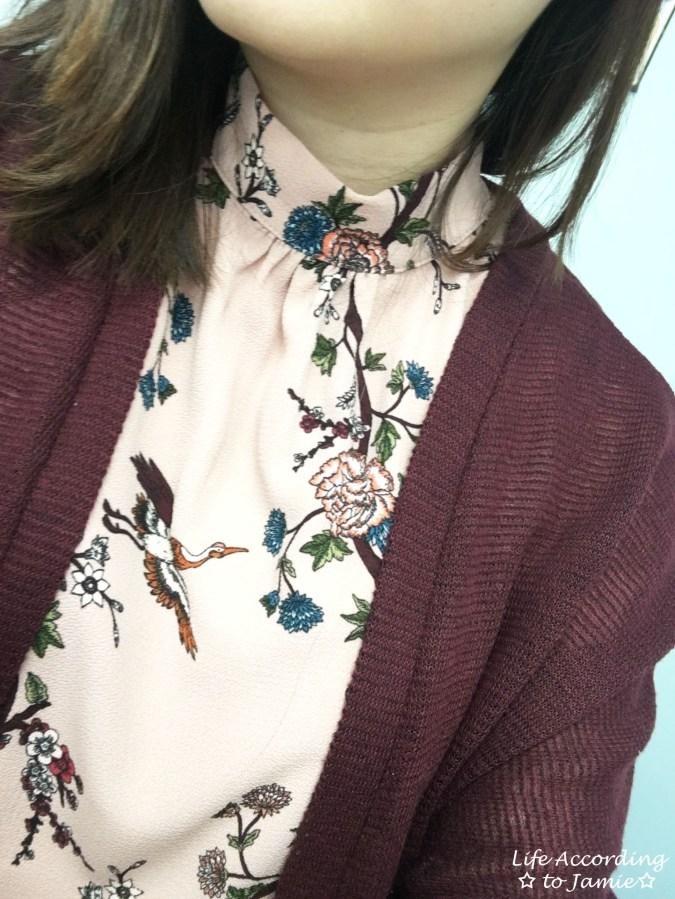 High-Neck Pink Floral Dress 5