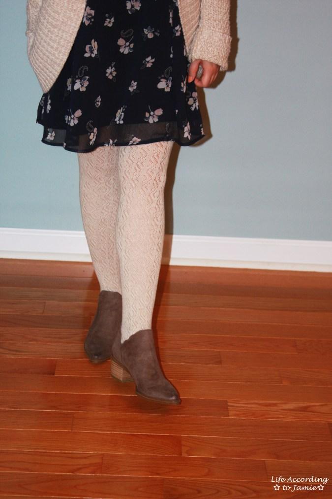 Printed Swing Dress + Chunky Cardigan 9