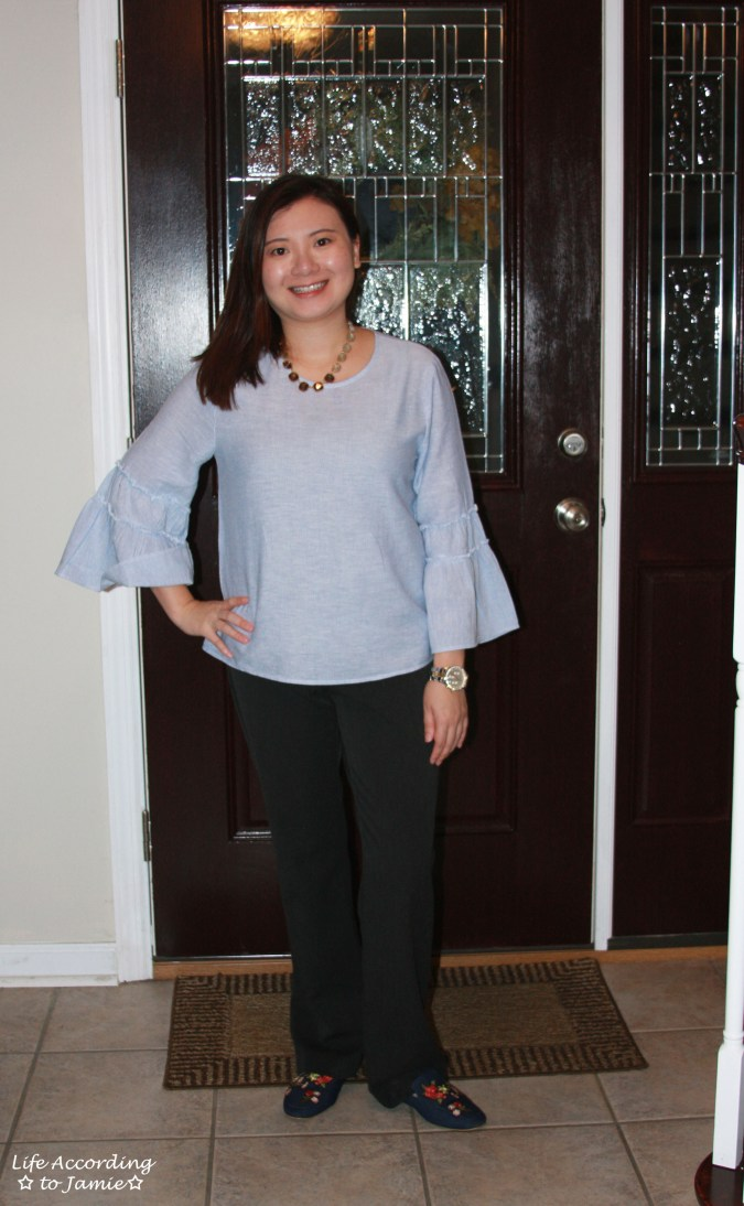 Ruffle Sleeve Blouse + Ombre Stone Necklace 4
