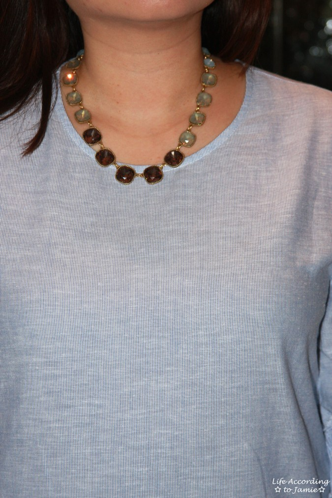 Ruffle Sleeve Blouse + Ombre Stone Necklace 9