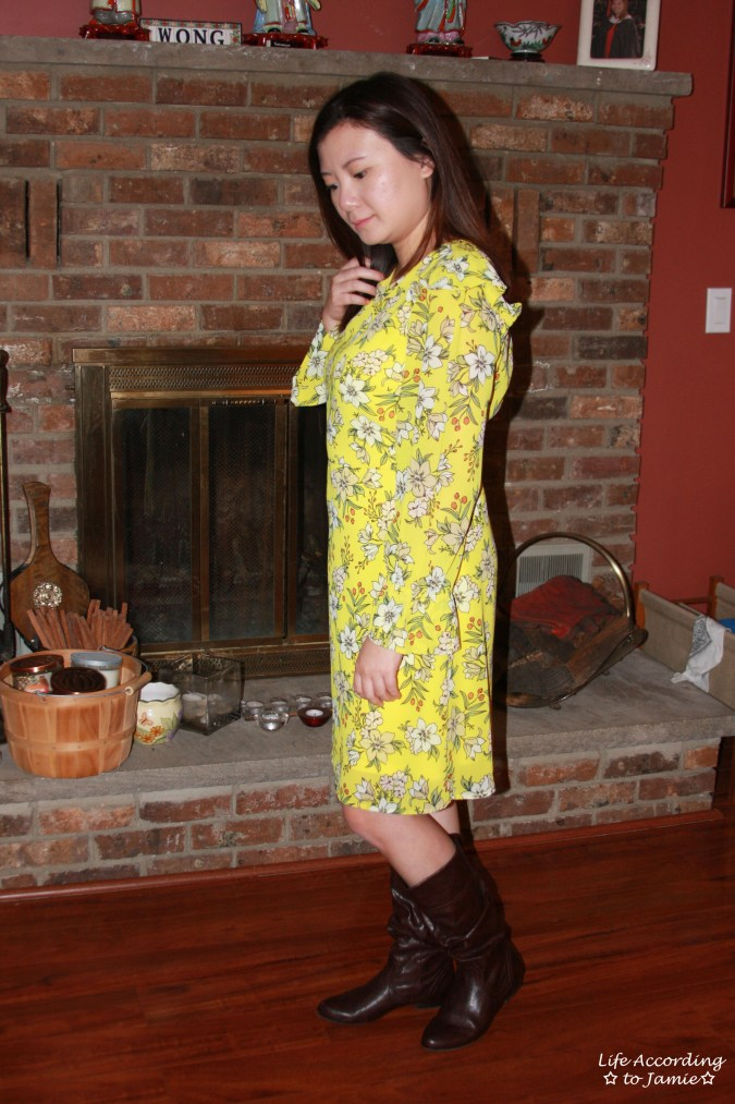 Yellow Floral Shift Dress 4
