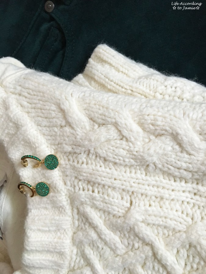 Cable Knit + Green Velvet + Green Pave Drop Earrings 1