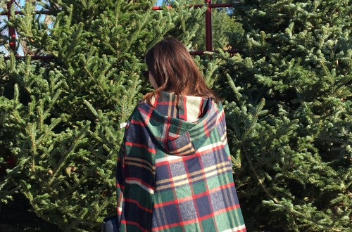 Christmas Plaid Cape Coat