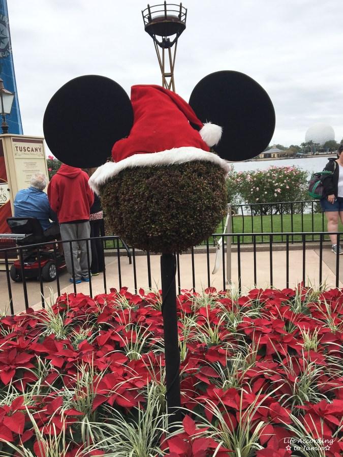 Epcot - Christmas Decorations - Mickey Santa Topiary
